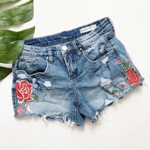 Black NYC Hiker Distressed Embroidered Shorts